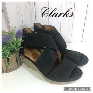 Clarks Artisan Clarene Nubuck Leather Wedge Sandal